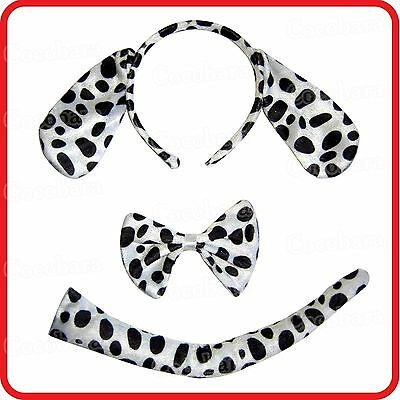 Spotted Dalmatian Dog Headband With Ears+Bow Tie+Tail-3Pc Dress Up Set-Costume