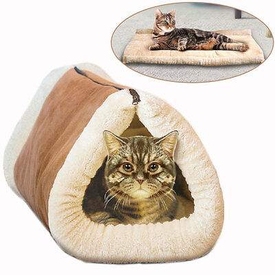 Kitty Cave 2 In 1 Tunnel And Mat Pet Cat Fleece Warm Bed Lounge Cushion Snuggle