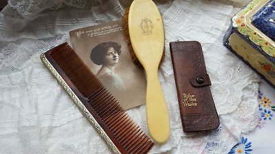 3 Vintage Vanity Items Hairbrush, Dressing Table Comb, Leather Hairpin Case/pins