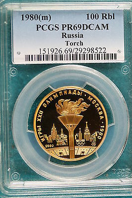 1980(m) PCGS PR69DCAM RUSSIA TORCH 100 RUBLE GOLD COIN!!!! #A2835