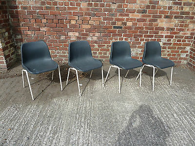 Set of 4 Black Plastic Stacking Chairs (20C469)