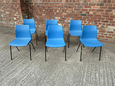Set of 6 Blue Plastic Stacking Chairs  (20C470)