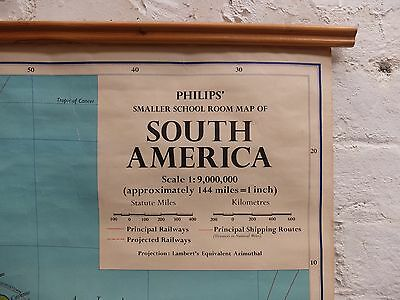 Vintage Drop Down School Map of South America by Philips, London  (DT175)