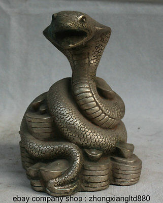"""5.8"""" China Silver Fengshui Yuanbao Coins Wealth Zodiac Year Snake Snakes Statue"""
