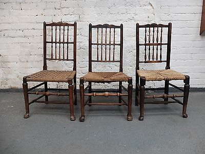 18th Century Liverpool, Lancashire Fan Spindle Back Chairs x 3 (20C455A)