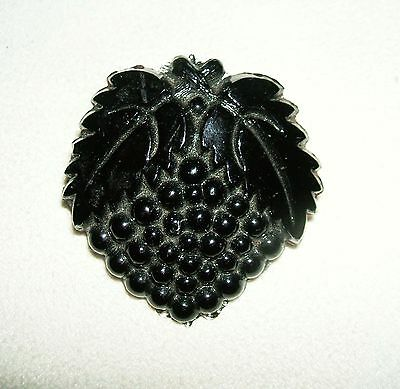 BLACK GLASS Mourning BROOCH PIN Large GRAPE CLUSTER AND LEAF Molded Glass