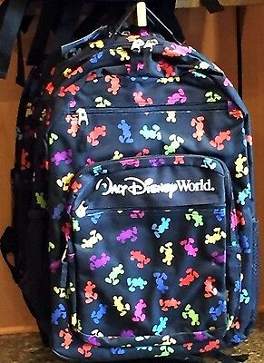 Mickey Mouse Backpack Rainbow Multi Color Icon Disney World Theme Parks NEW