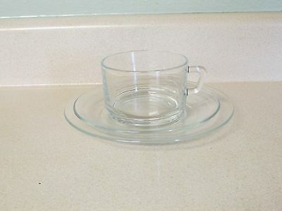 Set Of 12 Cups & Saucers & 10 Dessert Plates - Clear Glass Made In France!