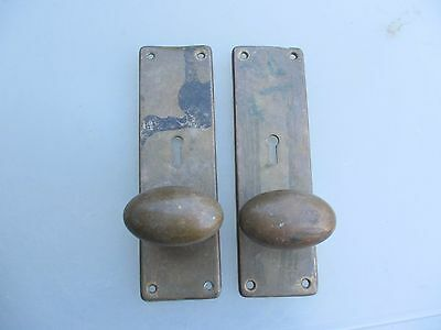 "Antique Bronze Door Knobs Handles Oval Architectural Vintage ""Kaye"" Leeds Pulls"