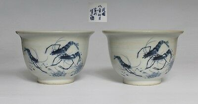 Rare Pair Chinese Blue And White Porcelain Flowerpot With Minguo Mark (L866)
