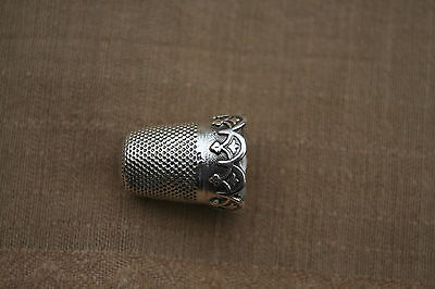 ANTIQUE FRENCH STERLING SILVER THIMBLE XIXth SCALLOPED CROWN BAND BOAR'S HEAD