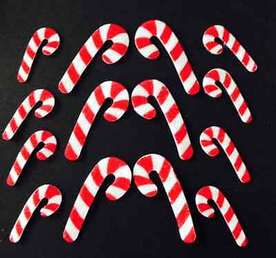 40 x CANDY CANE stickers felt Christmas canes crafts cards xmas sticker labels