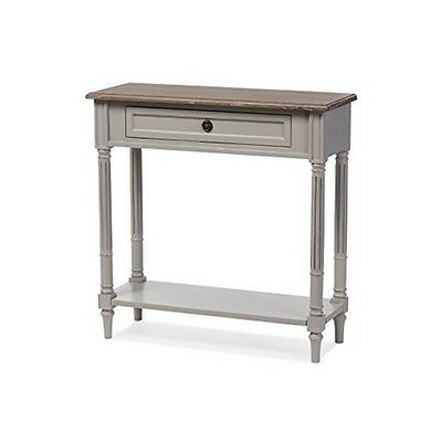 Edouard French Provincial Style White Wash Distressed Two-Tone 1-Drawer Console