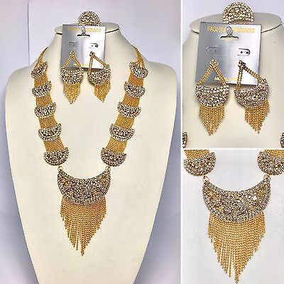 New Indian Gold Plated Necklace Earring Set Bollywood Jewellery Ethnic Jewelry