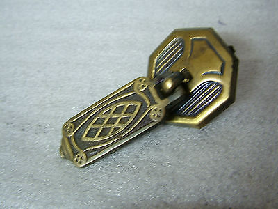 c1929 Bronzed/Brass Cupboard / Draw HANDLE & Plate Rd No 742839  2.3in Tall