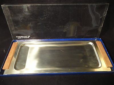 VINTAGE RETRO DANISH ROSEWOOD STAINLESS STEEL SERVING DISH TRAY - Denmark