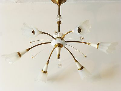 Large Ceiling Light Flowers White Porcelain 1950 Vintage 50's Hanging Fixture