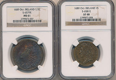 Ireland Shilling & Half Crown Oct 1689 - NGC XF40 & MS61