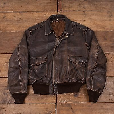 "Mens Schott Vintage Leather Flight Bomber Jacket Brown 50"" XL R4056"