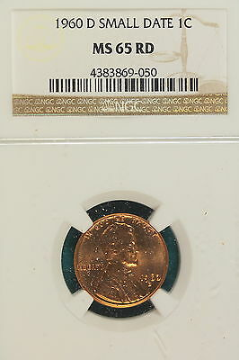 1960-D NGC MS65 RED SMALL DATE Lincoln Memorial Cent!! #A7101