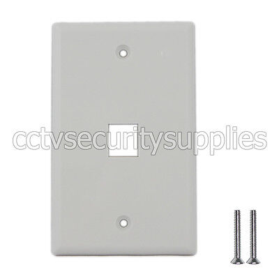 Plastic Face Plate Cover 1 Port Wall Plate 1 Gang 2 Free Screws White