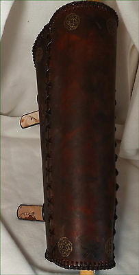 Brown & Gold Axe Greaves Leather Leg Armour Ranger Fantasy Hand Made XXL LARP