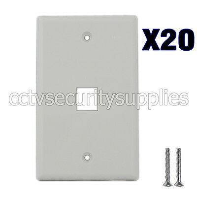 20 x Plastic Face Plate Cover 1 Port Wall Plate 1 Gang 2 Free Screws White