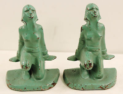 VINTAGE Art Deco Nude Lady Pair Cast Iron Painted Green Bookends NUMBERED