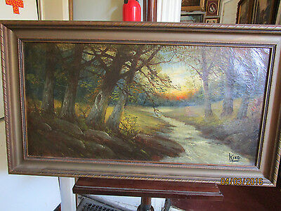 Estate Find ' Sunset In The Forest '  Signed Original Oil Painting Circa  1890
