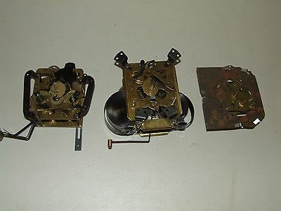 3 Vintage German Brass Mechanical Clock Movement Movements Seth Thomas Germany