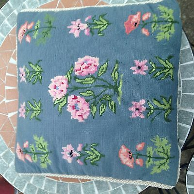 Vintage Needlepoint Hand Embroidered Tapestry Cushion Blue Floral