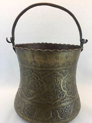 Turkish Middle Eastern Brass Hand Hammered Pail Pot