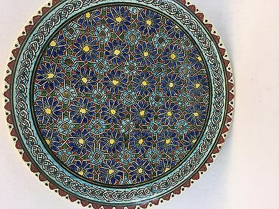 Antique Iznik Turkish Hand Painted Pottery Plate