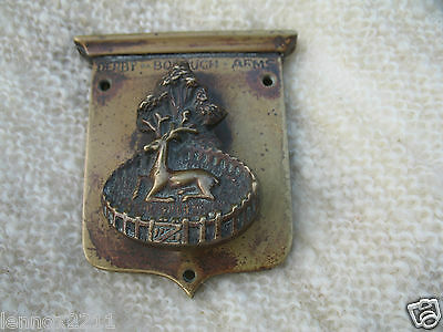 Antique Rare Brass Door Knocker Stag 'Derby - Borough Arms' Coat Of Arms