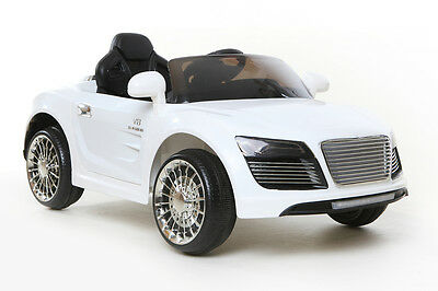 White R8 Style Roadster - 12V Kids' Electric Ride On Car