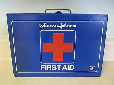 """Vintage Johnson & Johnson """"First Aid Kit"""" Number 8161  Painted Metal Box w/Guide"""