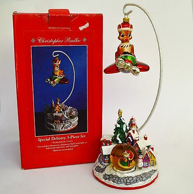 "Radko Special Delivery Rudolph Ornament and 12"" Stand Retired IOB"