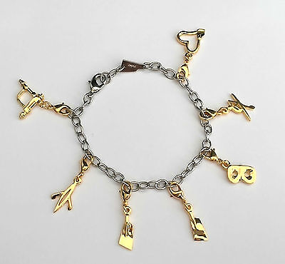 Rudern Armband Charms Chain Bracelet  mit 7 Anhängern gold pl. Rowing