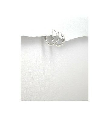 Unisex Plain Sterling Silver .925 Small Hoop 10MM Earrings