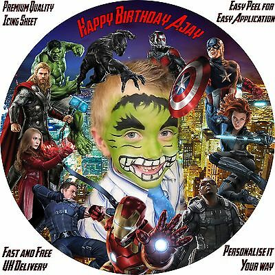 "Avengers Plus Own Photo 8"" Personalised Icing Sheet Cake Topper.Premium Quality."