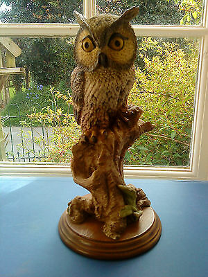 Mounted resin Long Eared Owl on tree stump figurine