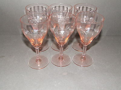 Lot Of 6 Pink Optic Panel  Depression Glass Cordials W/ Grape Etching