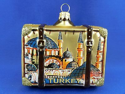 Turkey Blue Mosque Istanbul Travel Suitcase Glass Christmas Ornament  011265