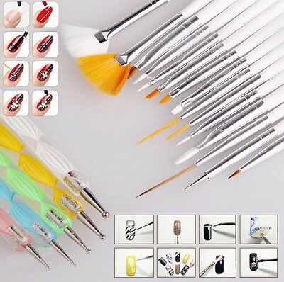 20 pcs Nail Art Design Set Dotting Painting Drawing Polish Brush Pen Tools Set