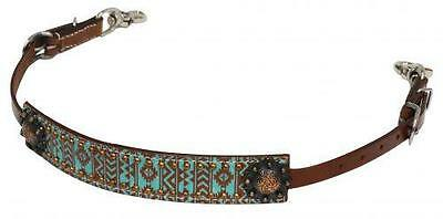 Showman TEAL AND BROWN Navajo Diamond Print Wither Strap! NEW HORSE TACK!