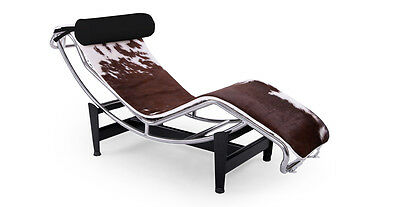 Le Corbusier Style LC4 Chaise Lounge, Brown & White Cowhide