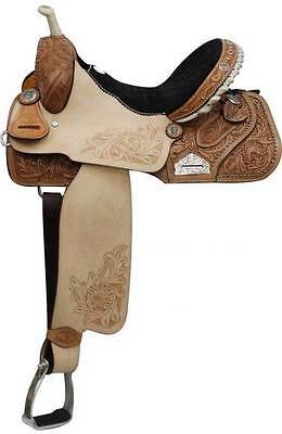 "16"" Double T Barrel Style Saddle with Floral Embossed Suede Seat! New Horse Tack"