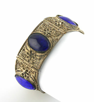 Old Chinese Silver Plated Filigree Blue Glass Bracelet