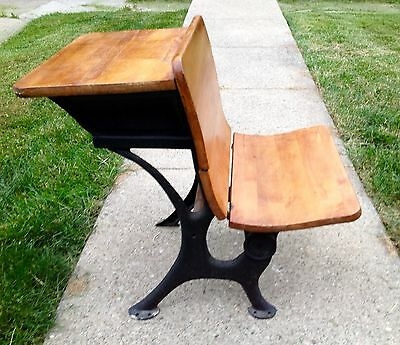 Antique School Desk Wood Top Fold Up Seat Cast Iron Legs Home Decor Decorative