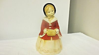 "70's Marty Sculpture Chalkware Red Girl 7"" Bell by Martha Carey-Flocked Coat"